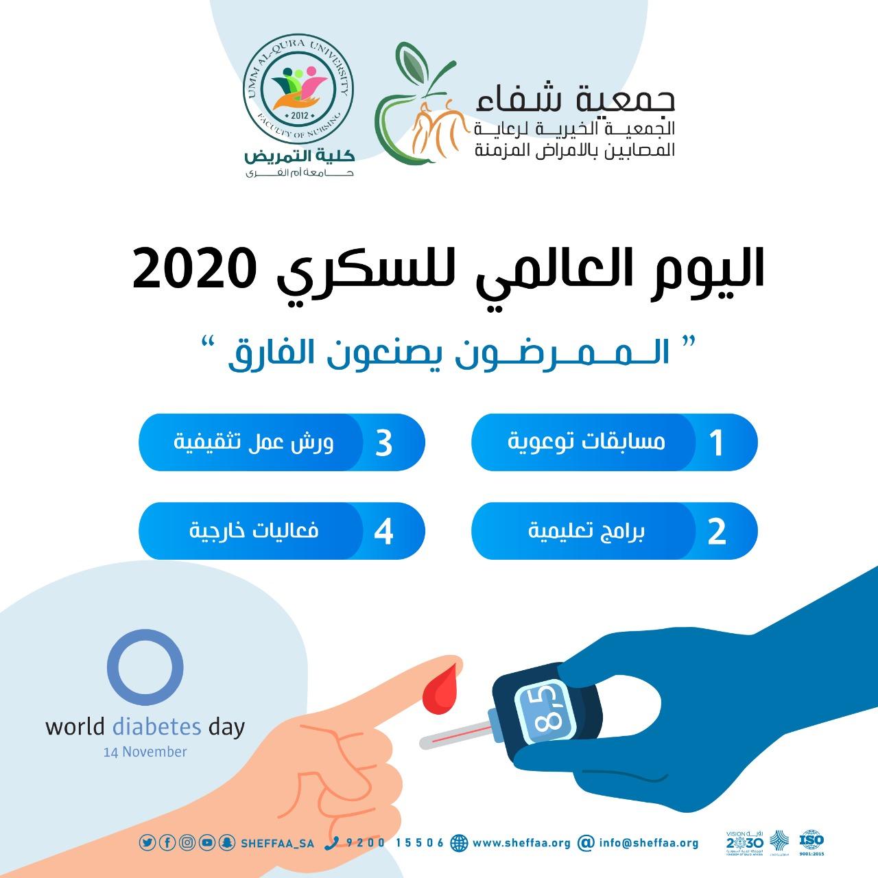 شفاء تطلق فعاليات اليوم العالمي لداء السكري 2020